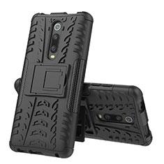 Coque Contour Silicone et Plastique Housse Etui Mat avec Support R01 pour Xiaomi Mi 9T Pro Noir