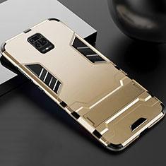 Coque Contour Silicone et Plastique Housse Etui Mat avec Support R01 pour Xiaomi Poco M2 Pro Or