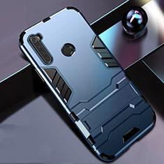 Coque Contour Silicone et Plastique Housse Etui Mat avec Support R01 pour Xiaomi Redmi Note 8 Bleu