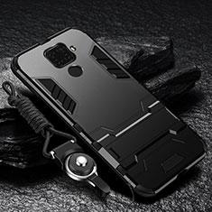 Coque Contour Silicone et Plastique Housse Etui Mat avec Support R01 pour Xiaomi Redmi Note 9 Noir