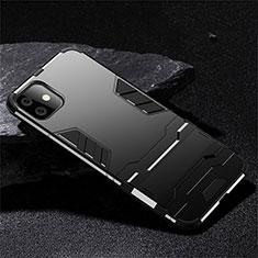 Coque Contour Silicone et Plastique Housse Etui Mat avec Support R02 pour Apple iPhone 11 Noir