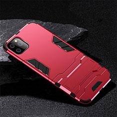 Coque Contour Silicone et Plastique Housse Etui Mat avec Support R02 pour Apple iPhone 11 Pro Rouge
