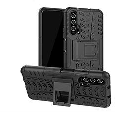 Coque Contour Silicone et Plastique Housse Etui Mat avec Support R02 pour Huawei Honor 20 Pro Noir