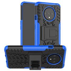 Coque Contour Silicone et Plastique Housse Etui Mat avec Support R02 pour OnePlus 7T Bleu