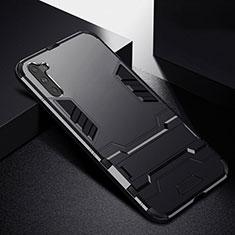Coque Contour Silicone et Plastique Housse Etui Mat avec Support R02 pour Samsung Galaxy Note 10 5G Noir