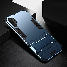 Coque Contour Silicone et Plastique Housse Etui Mat avec Support R02 pour Samsung Galaxy Note 10 Plus 5G Bleu