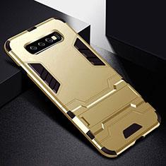 Coque Contour Silicone et Plastique Housse Etui Mat avec Support R02 pour Samsung Galaxy S10 Plus Or