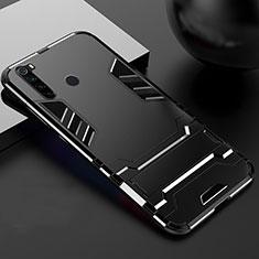 Coque Contour Silicone et Plastique Housse Etui Mat avec Support R02 pour Xiaomi Redmi Note 8T Noir