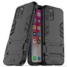 Coque Contour Silicone et Plastique Housse Etui Mat avec Support R03 pour Apple iPhone 11 Pro Noir
