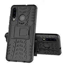 Coque Contour Silicone et Plastique Housse Etui Mat avec Support R03 pour Huawei Honor 20 Lite Noir