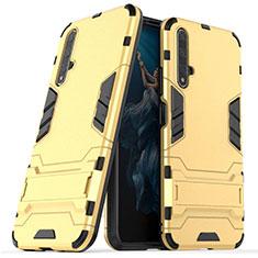 Coque Contour Silicone et Plastique Housse Etui Mat avec Support R03 pour Huawei Honor 20 Or