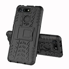 Coque Contour Silicone et Plastique Housse Etui Mat avec Support R03 pour Huawei Honor View 20 Noir