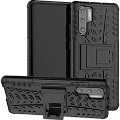 Coque Contour Silicone et Plastique Housse Etui Mat avec Support R03 pour Huawei P30 Pro New Edition Noir