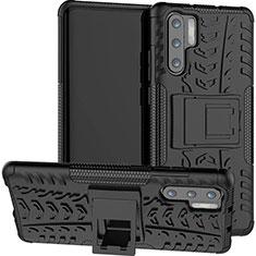 Coque Contour Silicone et Plastique Housse Etui Mat avec Support R03 pour Huawei P30 Pro Noir