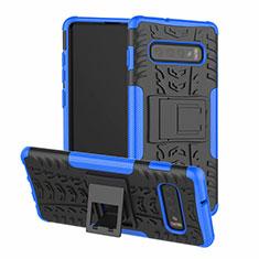 Coque Contour Silicone et Plastique Housse Etui Mat avec Support R03 pour Samsung Galaxy S10 Plus Bleu