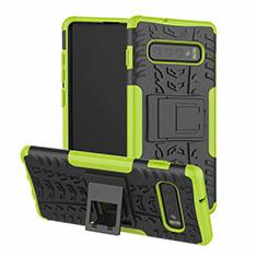 Coque Contour Silicone et Plastique Housse Etui Mat avec Support R03 pour Samsung Galaxy S10 Vert