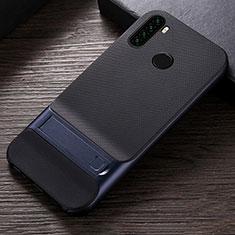 Coque Contour Silicone et Plastique Housse Etui Mat avec Support R04 pour Xiaomi Redmi Note 8 Bleu