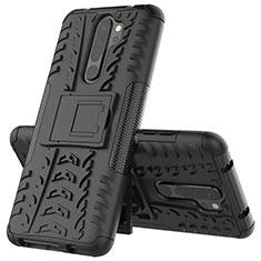 Coque Contour Silicone et Plastique Housse Etui Mat avec Support R04 pour Xiaomi Redmi Note 8 Pro Noir