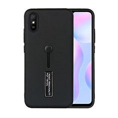 Coque Contour Silicone et Plastique Housse Etui Mat avec Support R05 pour Xiaomi Redmi 9A Noir