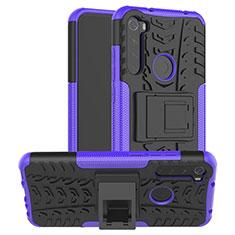 Coque Contour Silicone et Plastique Housse Etui Mat avec Support R06 pour Xiaomi Redmi Note 8 Violet