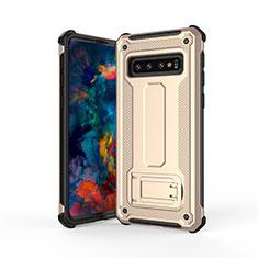 Coque Contour Silicone et Plastique Housse Etui Mat avec Support T01 pour Samsung Galaxy S10 Or