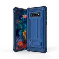 Coque Contour Silicone et Plastique Housse Etui Mat avec Support T01 pour Samsung Galaxy S10e Bleu