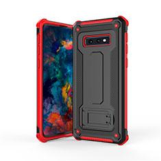 Coque Contour Silicone et Plastique Housse Etui Mat avec Support T01 pour Samsung Galaxy S10e Rouge et Noir