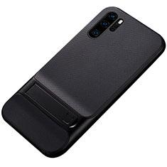 Coque Contour Silicone et Plastique Housse Etui Mat avec Support Z01 pour Huawei P30 Pro Noir
