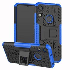 Coque Contour Silicone et Plastique Housse Etui Mat avec Support Z01 pour Huawei Y6 (2019) Bleu