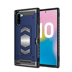 Coque Contour Silicone et Plastique Housse Etui Mat Magnetique Aimant pour Samsung Galaxy Note 10 Bleu