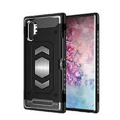 Coque Contour Silicone et Plastique Housse Etui Mat Magnetique Aimant pour Samsung Galaxy Note 10 Plus Noir
