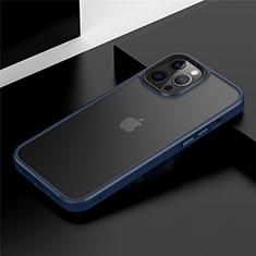 Coque Contour Silicone et Plastique Housse Etui Mat N01 pour Apple iPhone 12 Pro Bleu