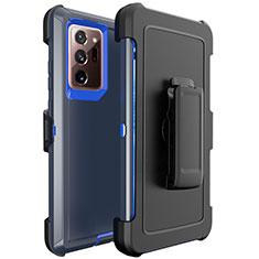 Coque Contour Silicone et Plastique Housse Etui Mat N04 pour Samsung Galaxy Note 20 Ultra 5G Bleu et Noir