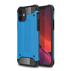 Coque Contour Silicone et Plastique Housse Etui Mat pour Apple iPhone 12 Mini Bleu Ciel