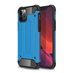 Coque Contour Silicone et Plastique Housse Etui Mat pour Apple iPhone 12 Pro Bleu Ciel