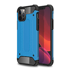 Coque Contour Silicone et Plastique Housse Etui Mat pour Apple iPhone 12 Pro Max Bleu Ciel