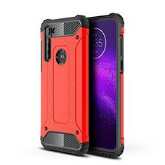 Coque Contour Silicone et Plastique Housse Etui Mat pour Motorola Moto G8 Power Rouge