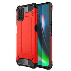 Coque Contour Silicone et Plastique Housse Etui Mat pour Motorola Moto G9 Plus Rouge