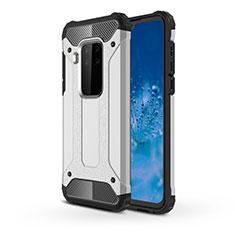 Coque Contour Silicone et Plastique Housse Etui Mat pour Motorola Moto One Zoom Argent