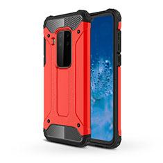 Coque Contour Silicone et Plastique Housse Etui Mat pour Motorola Moto One Zoom Rouge