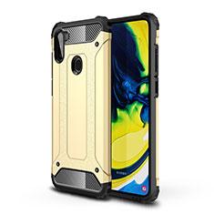 Coque Contour Silicone et Plastique Housse Etui Mat pour Samsung Galaxy A11 Or