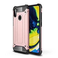 Coque Contour Silicone et Plastique Housse Etui Mat pour Samsung Galaxy A11 Or Rose
