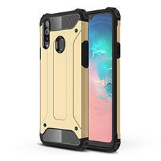 Coque Contour Silicone et Plastique Housse Etui Mat pour Samsung Galaxy A20s Or