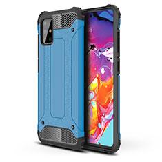 Coque Contour Silicone et Plastique Housse Etui Mat pour Samsung Galaxy A51 4G Bleu Ciel