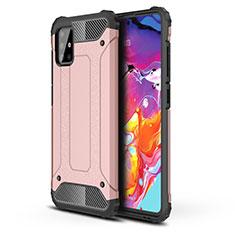 Coque Contour Silicone et Plastique Housse Etui Mat pour Samsung Galaxy A51 4G Or Rose