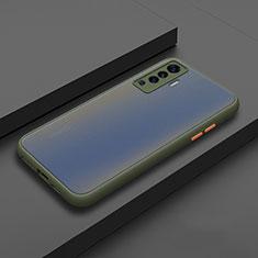 Coque Contour Silicone et Plastique Housse Etui Mat pour Vivo X50 5G Cyan
