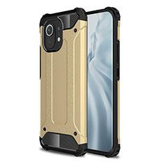 Coque Contour Silicone et Plastique Housse Etui Mat pour Xiaomi Mi 11 5G Or
