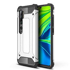 Coque Contour Silicone et Plastique Housse Etui Mat pour Xiaomi Mi Note 10 Blanc