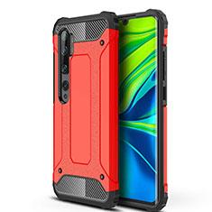 Coque Contour Silicone et Plastique Housse Etui Mat pour Xiaomi Mi Note 10 Rouge