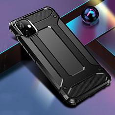 Coque Contour Silicone et Plastique Housse Etui Mat R01 pour Apple iPhone 11 Noir